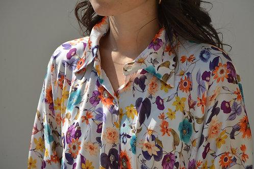 Camicia stampa floreale bianca