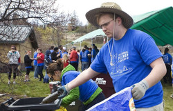 Volunteer sorting recyclables