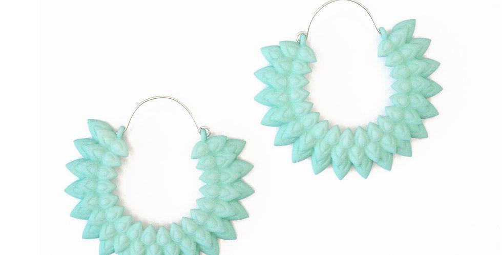 dahlia flower aqua earring handmade silver trendy large hoops