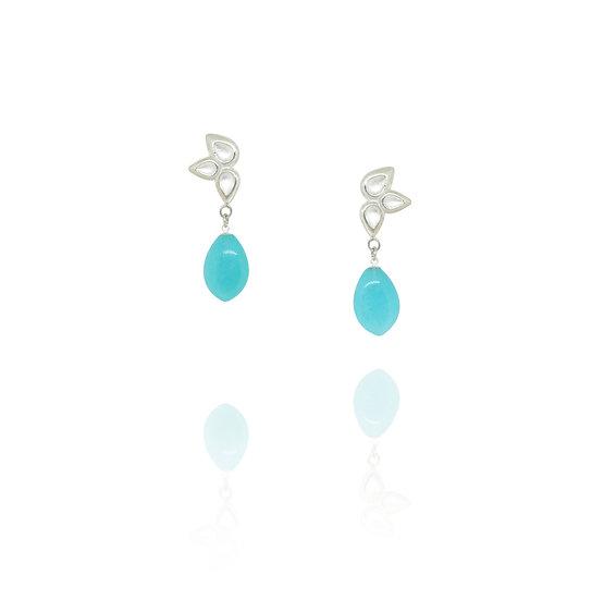 Petal drop earrings - Amazonite