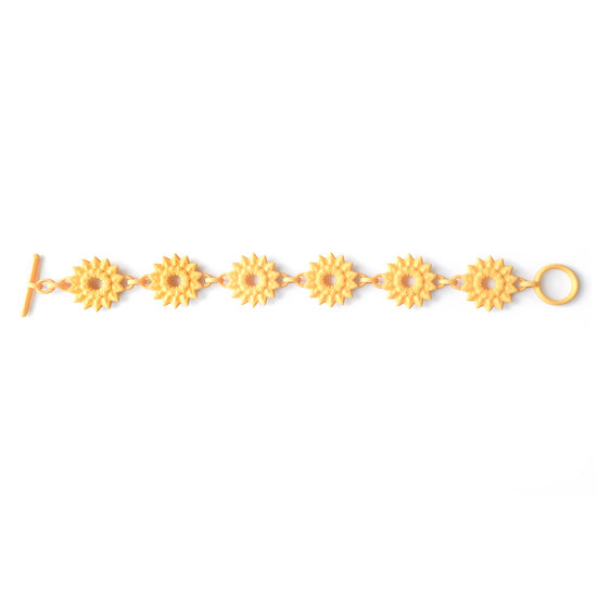 contemporary designer colorful friendship bracelet in warm illuminating yellow colour pantone of 2021