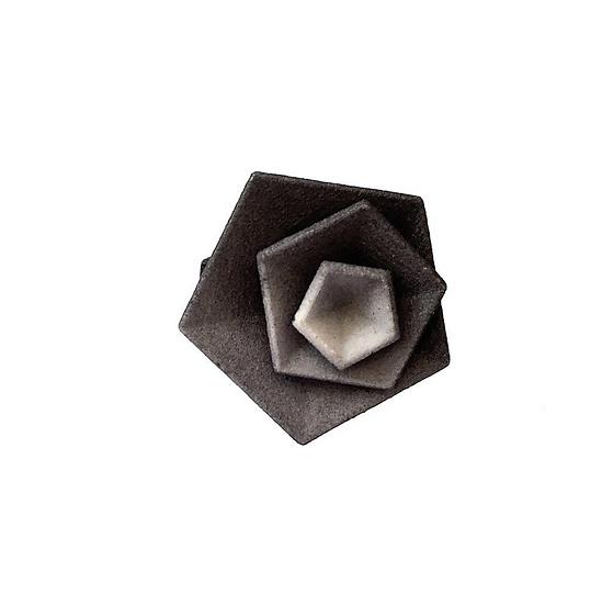 OUTLET - Vertigo ring -Grey &Black