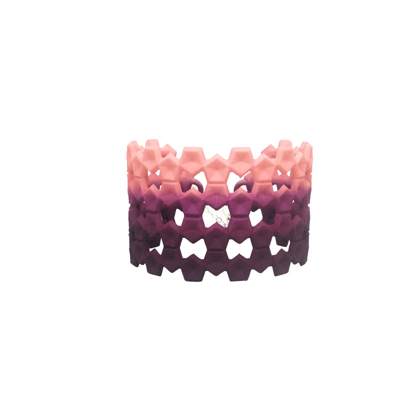 Treat yourself with this designer bangle in coral pink and plum purple colour.