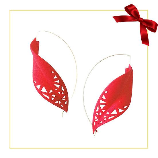 Oversize red leaf earrings