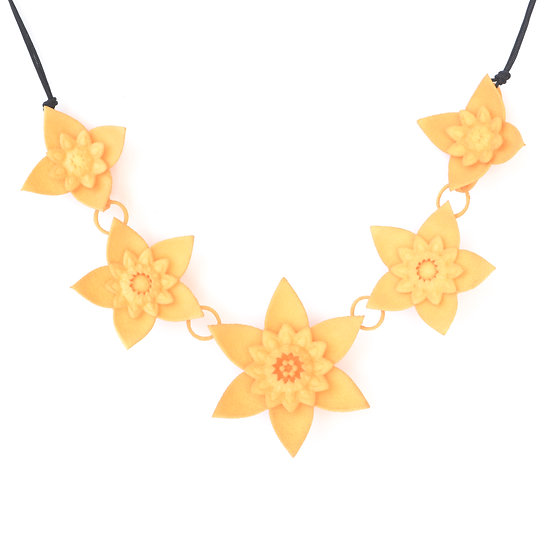 romantic boho style yellow floral necklaces