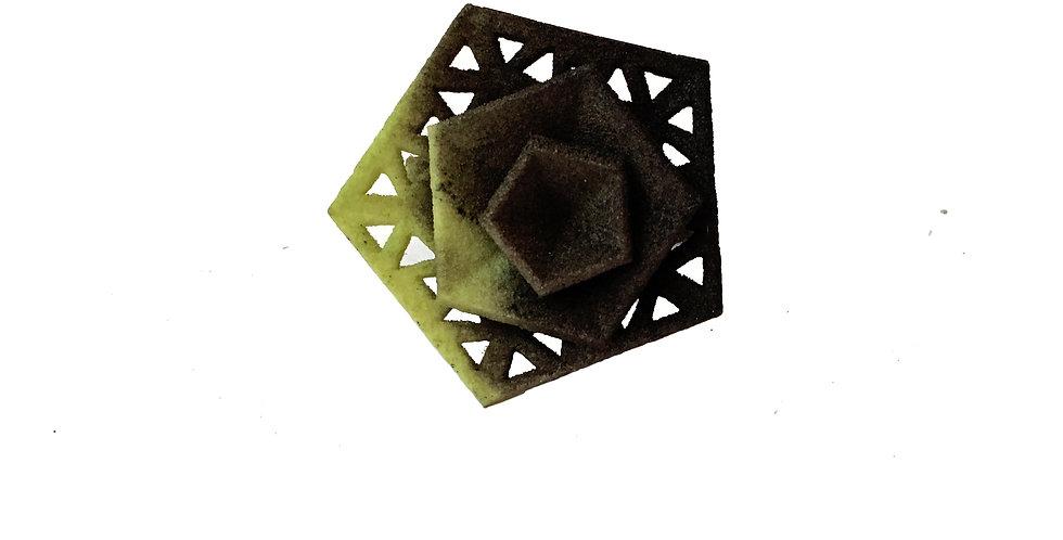 OUTLET - Vertigo ring perforated - Black Green