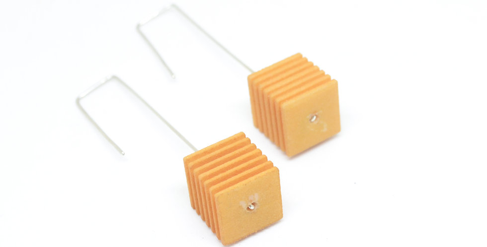 OUTLET - OPTICAL - Cube Earrings - Citrus yellow