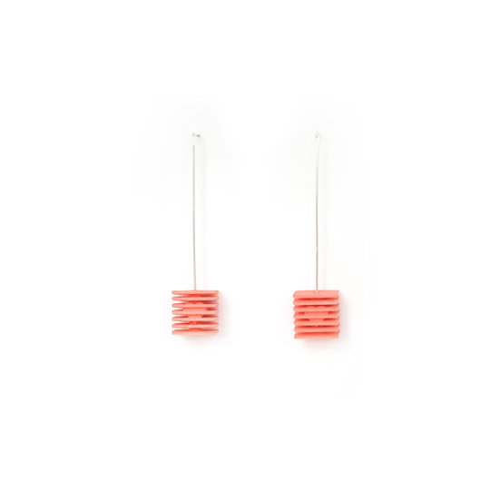 LOVE Cubes - Valentines Earrings - Coral pink