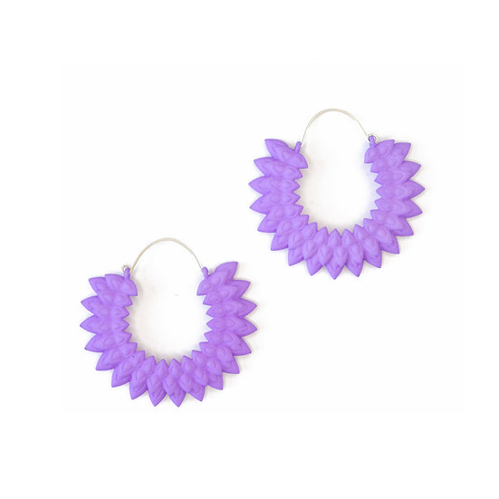 floral hoop earrings in lilac