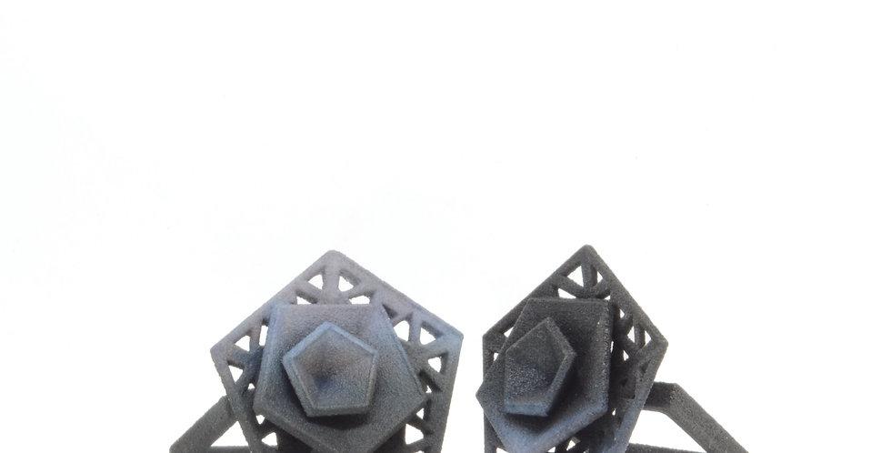 OUTLET - Vertigo ring perforated -Grey & Black