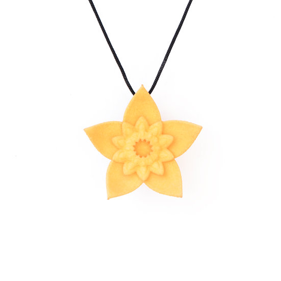 dahlia flower pendant in 3D printed nylon plastic for spring