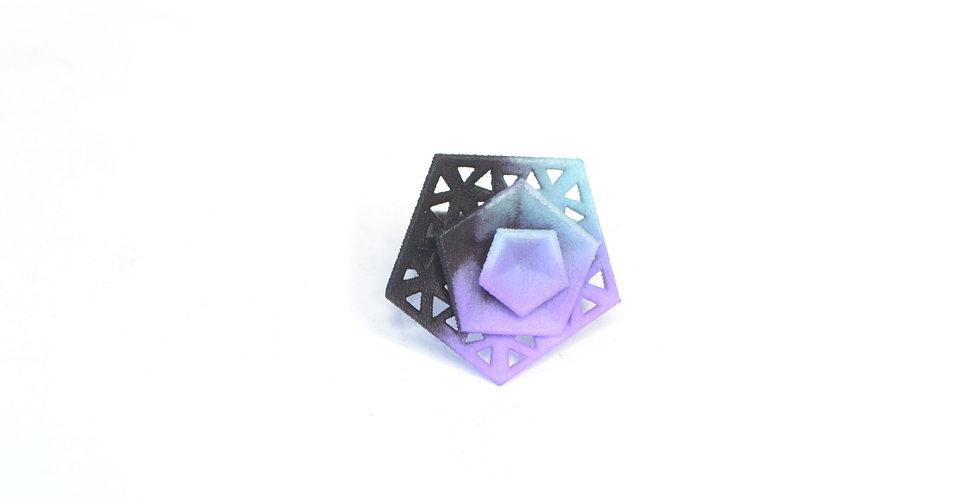 Vertigo perforated ring - aqua, lilac & black