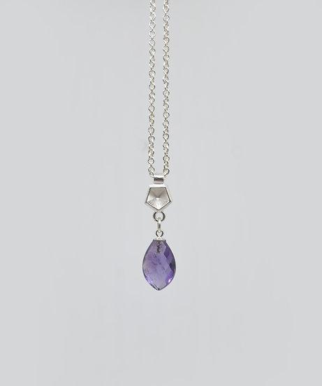Briolette petal amethyst pendant in silver