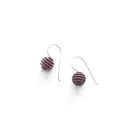 OPTICAL - Sphere earrings -Plum Purple