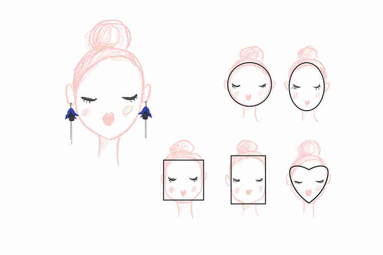 different type of face shape such as round oval heart square and oblong face shape and the best earrings to go with them