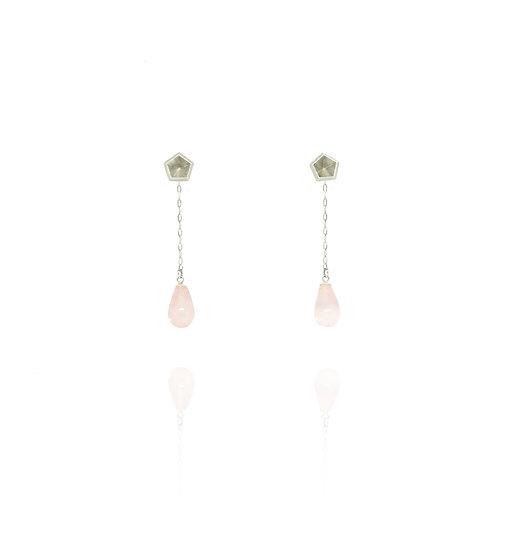 Dangle & stud earrings - Rose quartz