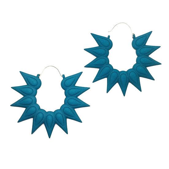 Petrol blue statement earrings