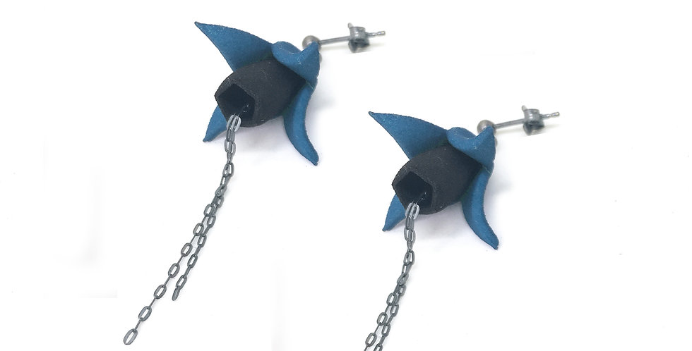 OUTLET - FUXIA Earrings - Black & teal