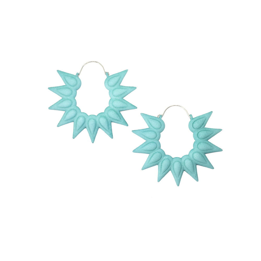 oversize big earrings in aqua color