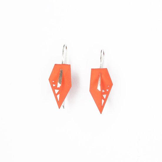 Tangerine asymmetrical designer drop earrings