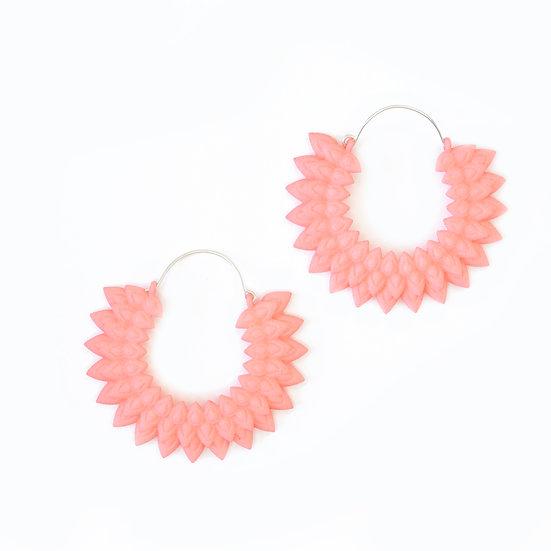 coral pink flower hoop earrings