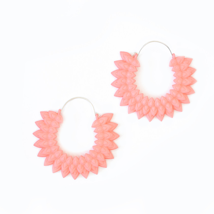Make a statement with this lightweight botanical hoops inspired by dahlia flowers, in bright coral pink nylon and silver hooksn