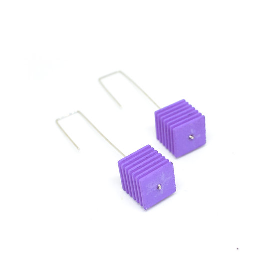 OUTLET - OPTICAL - Cube Earrings - Lilac purple