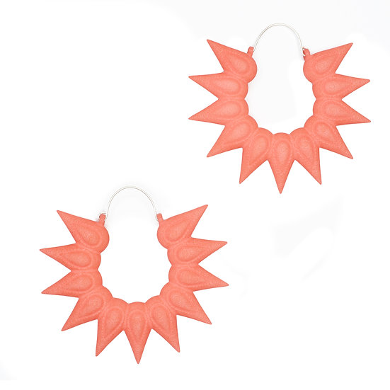 Big floral hoops in coral pink