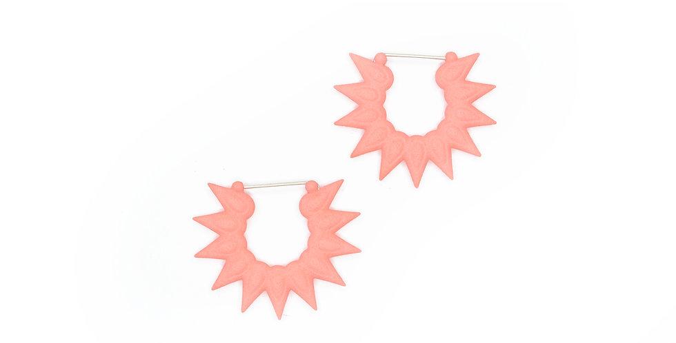 coral pink floral hoops