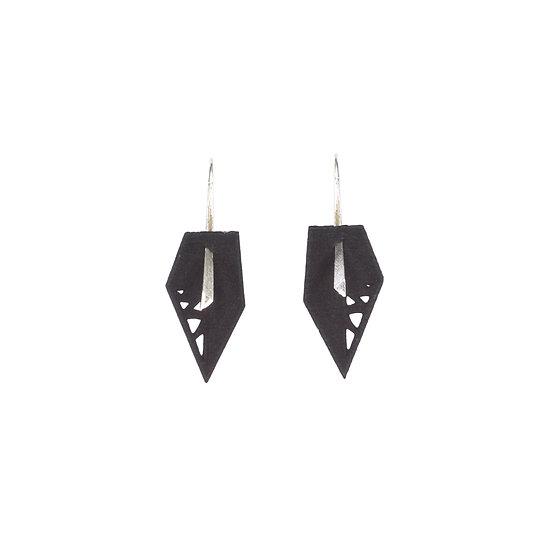 black minimal drop earrings