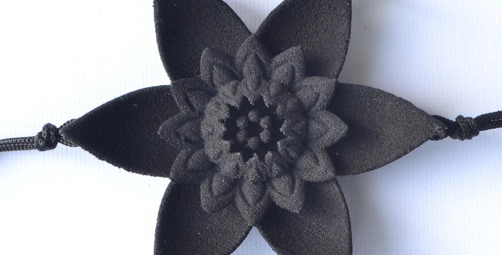 elegant contemporary black flower bracelet in 3D printed plastic