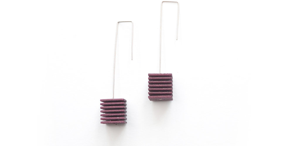 aubergine designer earrings with cubes