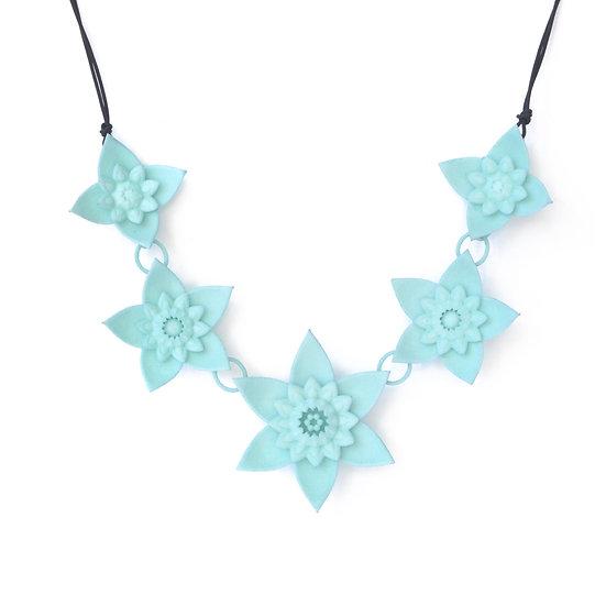 pastel delicate spring flower modern designer collar necklace in aqua colour
