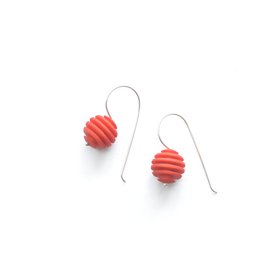 Orange sphere designer earrings