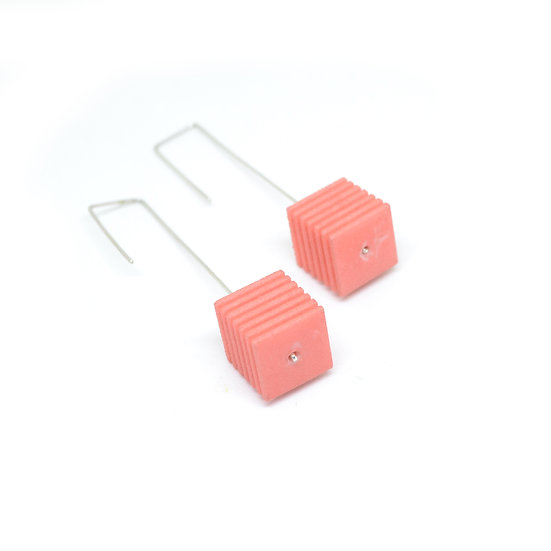 OUTLET - OPTICAL - Cube Earrings - Coral pink