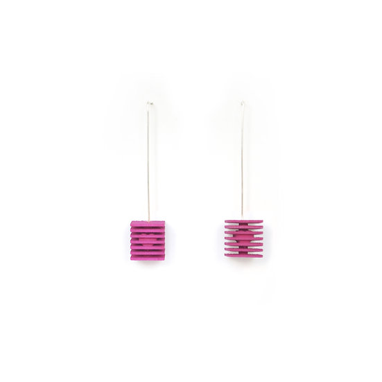 LOVE Cubes - Valentines Earrings - Fuchsia pink