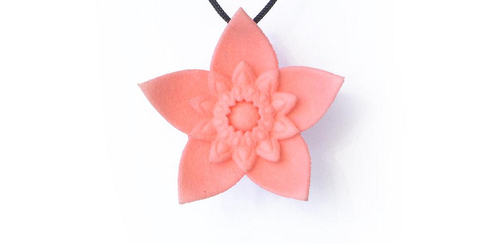 dahlia flower pink pendant in 3D printed nylon plastic