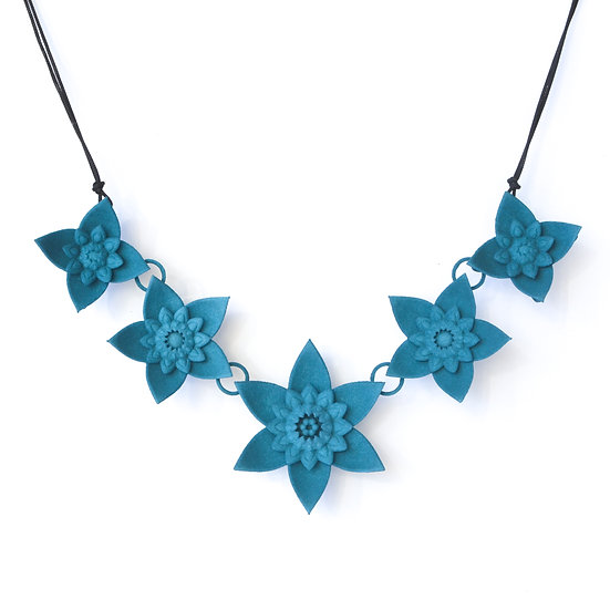luxury fashion statement necklace with teal coloured spring flowers inspired by dahlias and mandalas