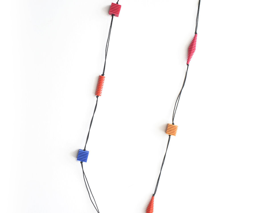OPTICAL - Long necklace- Bright colours