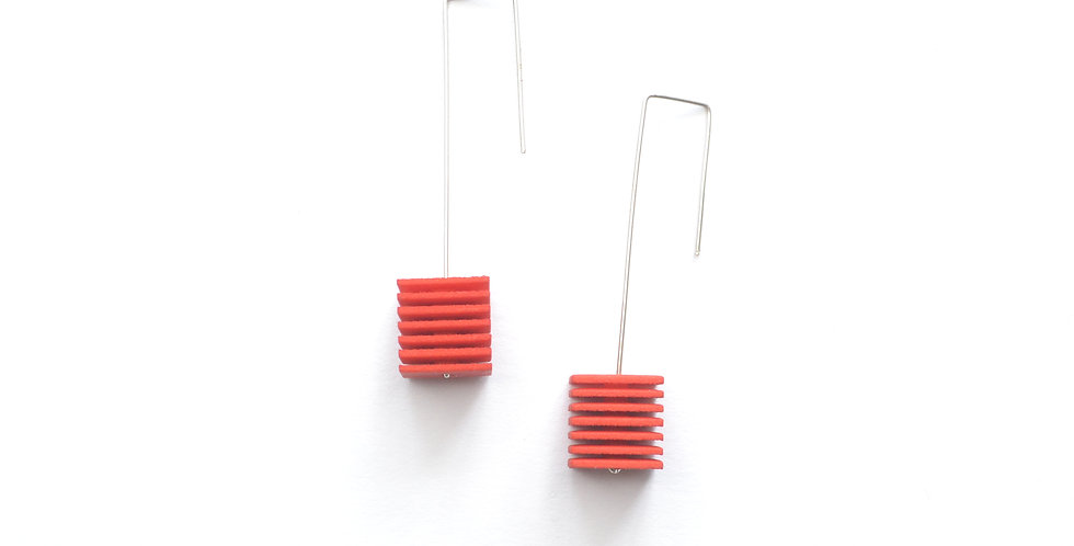 OUTLET - OPTICAL - Cube Earrings - Tangerine orange
