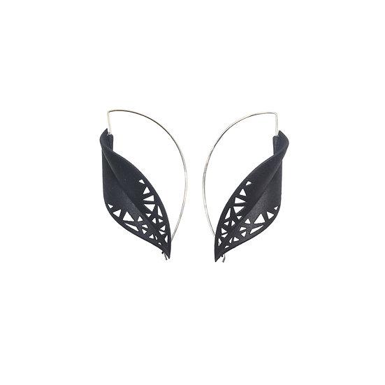 oversize  leaf earrings in black