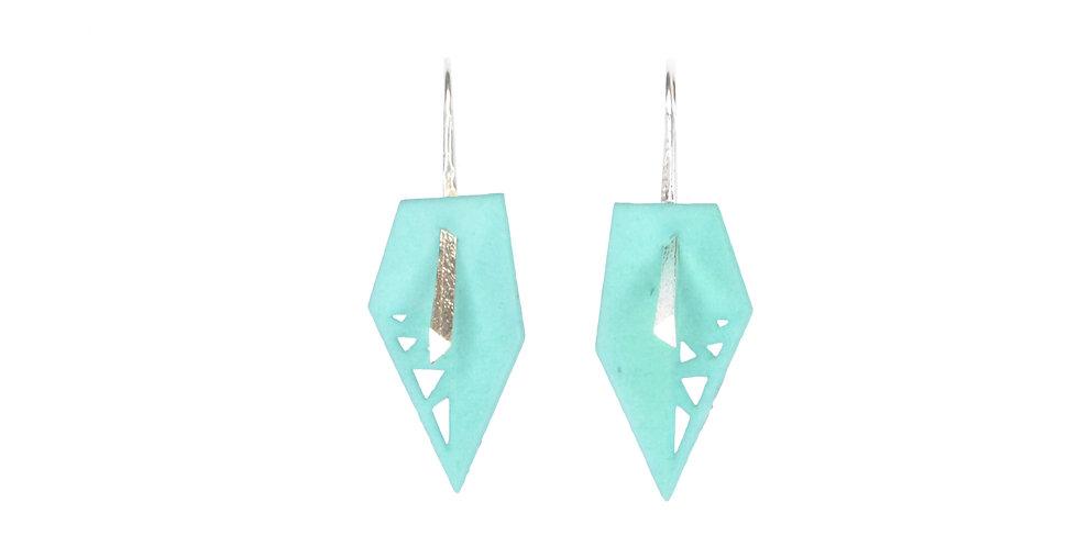 Aqua geometric drop earrings