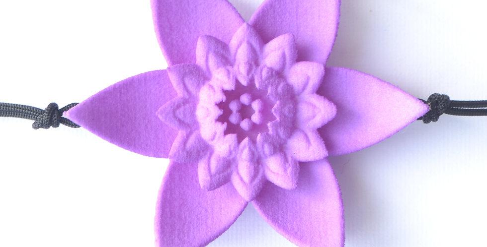 luxury fashion designer bracelet with large flower in pastel lilac purple colour