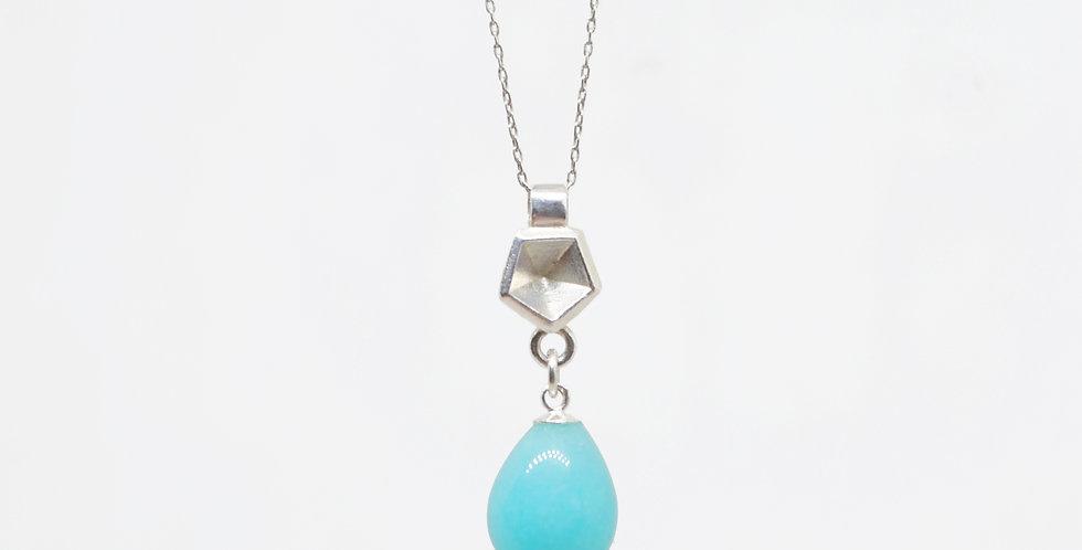 Amazonite crystal drop pendant with pentagonal geometric shape in silver