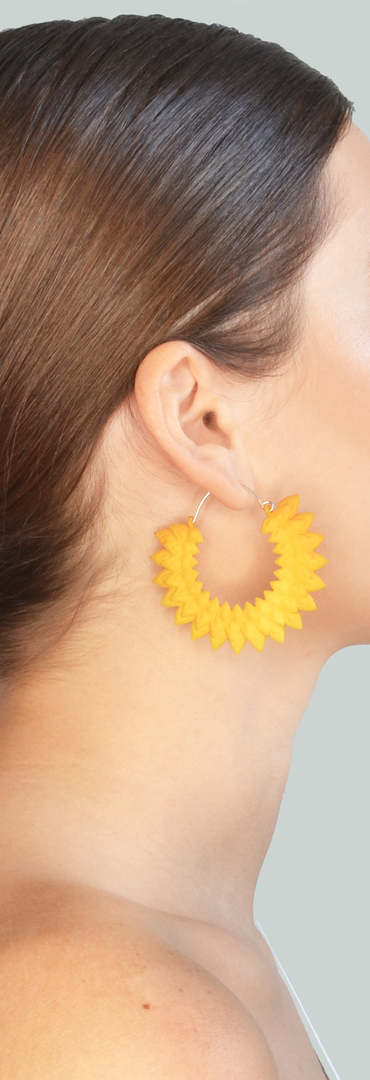 Dahlia yellow hoops earrings