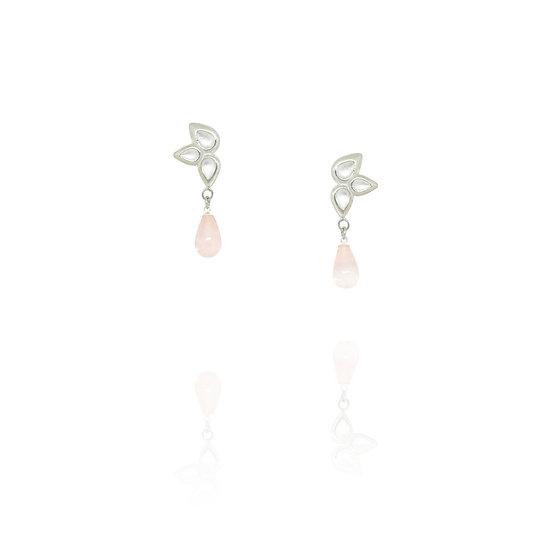 Petal drop earrings - Rose Quartz
