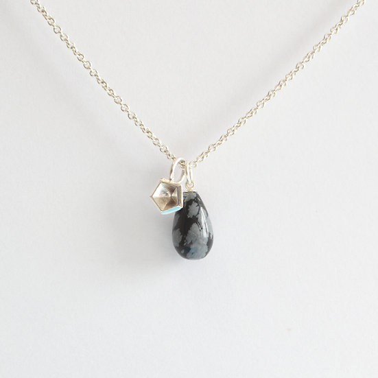 snowflake obsidian drop and silver pendant on chain