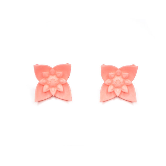 large studs with coral pink flower