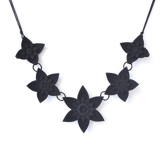 luxury fashion statement necklace with black contemporary flowers inspired by dahlias and mandalas