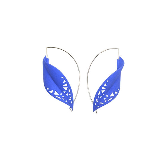 Blue maxi leaf earrings front view